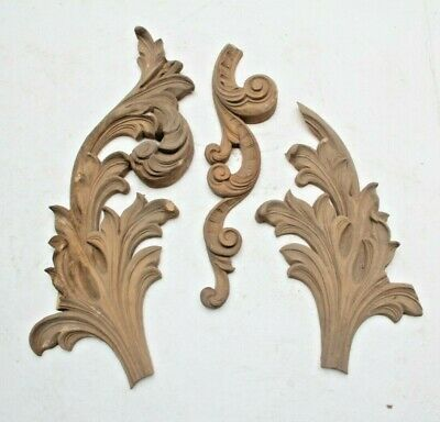 Rare Hand Carved French Gothic Fancy Shell Flower Church Wood Carvings