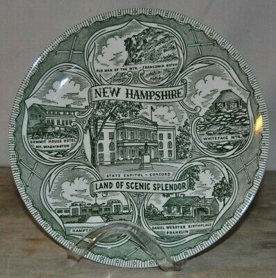 Vintage New Hampshire Scenic Splendor State Collector Plate Green Color