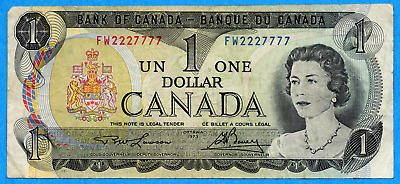 $1 1973 Bank of Canada Note - Fancy Serial Two Digit 2227777