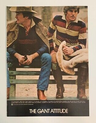 1976 The Gant Attitude Shirtmakers Print Ad New Haven CT Rugger Hat Boots Fence