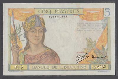 French Indochina 5 Piastres Banknote P-55d ND 1949 UNC