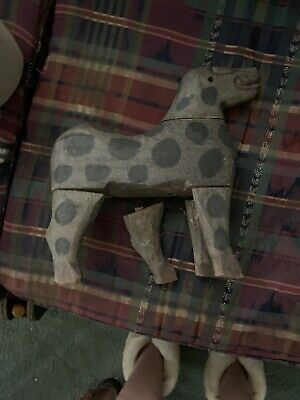 Vintage Folk Art Carved Wooden Dog