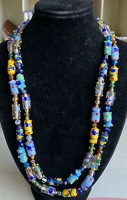 Vintage Blue, Yellow And Clear Barrel Shape Murano Glass Beads Necklace