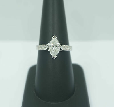 Gorgeous! 1.25 Carat Marquise Diamond Engagement Ring - 14k White Gold