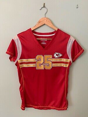 WOMEN'S KANSAS CITY CHIEFS JERSEY TOP SIZE S 8 10 NFL RED #25 CHARLES (a54)
