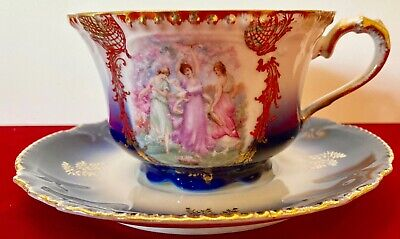 Mustache Tea Cup & Saucer Royal Bavarian Germany Cobalt Blue Gold NRMT