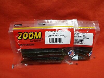 """zoom fish doctor 4/"""" watermelon seed finesse bass stick wacky rig bait 003-019"""