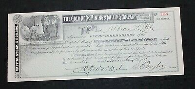 1891 Gold Rock Mining & Milling Co. Stock Certificate Gilpin County, Colorado