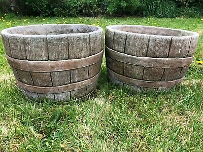 Pair Of Fine Architectural Stone Large Round Barrel Garden Pot Planter Urns