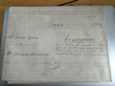 Antique Deed Dated 25th March 1869. The Basin Field. Uttoxeter