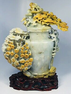 Antique 1920s Chinese Hand-Carved Jade Floral Vessel on Custom Wood Base