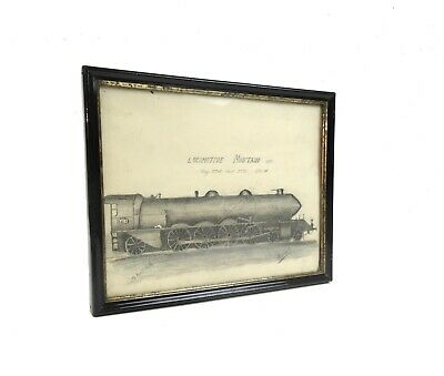 Original Art Deco Zeichnung Streamline Lokomotive Signiert Antik 1928