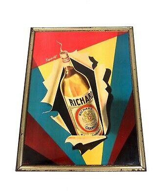 Original Art Deco Richard Werbe Poster Gerahmt 1930 Bar Martini Cocktail