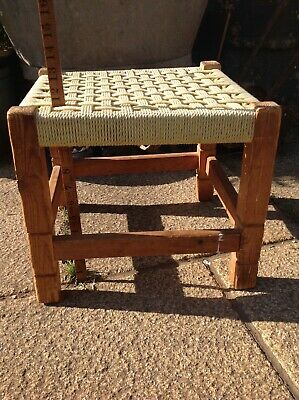 Vintage woven small table / foot stool or plant stand
