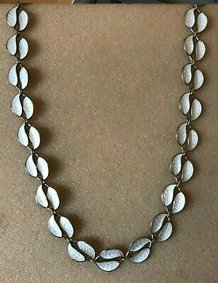 Norway Solid Silver and white enamel leaf design necklace by David Anderson