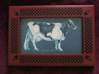 American Folk Art Framed Pic Of A Holstein Cow - Marlene Coble Fremont Indiana