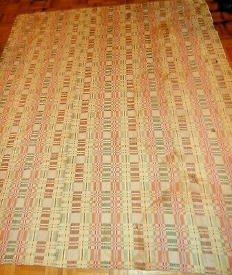 Antique Coverlet 2 Panel Checked Hand Loomed Reversible cutter or repair