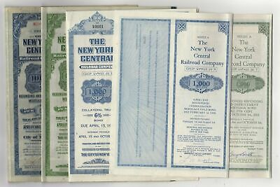 Lot of 5 - New York Central Railroad Bonds