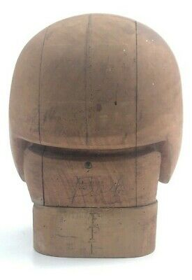 Antique 3 Piece Wood Wooden Block Mold Hat Form - Millinery