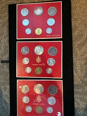3 Pc lot -1958/1964  VATICAN CITY  8 COIN MINT SETS IN MINT DISPLAY CARD BU