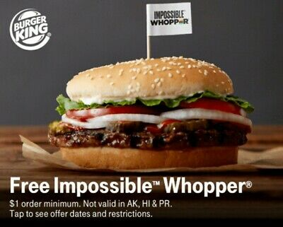 CODE for FREE (1) Burger King IMPOSSIBLE Whopper