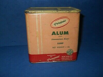 Vintage Purepac Alum Tin Metal and Carboard Container Empty