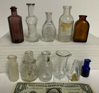 LOT of 11 Antique VTG Miniature Glass Bottles~Perfume,Poison,Medical,Apothocary