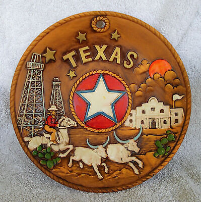 Vintage Texas State Decorative Souvenir Plate Hand Painted Clay Type, 8 1/4 Inch