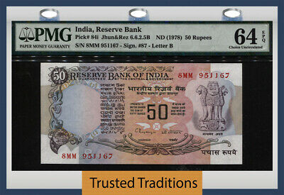 TT PK 84i ND (1978) INDIA RESERVE BANK 50 RUPEES PMG 64 EPQ CHOICE UNCIRCULATED!