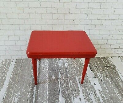 Vintage Dollhouse Miniature Furniture Handcrafted Wood Red Kitchen/Work Table