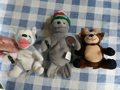 Lot of 3 Coca Cola Coke Bean Bag Plush: Reindeer Seal Husky Tags Attached Offers