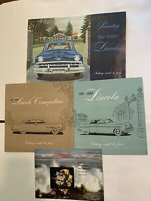1950 Lincoln Large Sales Brochures Posters Cosmopolitan Excellent Lot Of 4