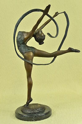 Signed Bronze Handcrafted Statue Art Deco Gymnast Sculpture On Marble Base