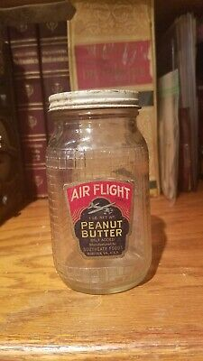 Old Air Flight Peanut Butter 1 Lb Glass Jar with Paper High Wing Airplane Label