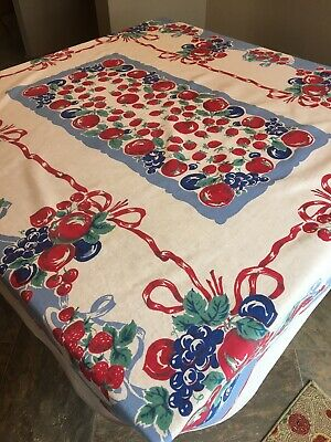 Vintage Tablecloth Fruit Strawberry Apple Grape Berries Red Ribbon 64X55 Print