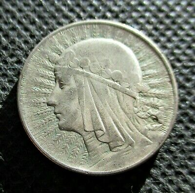 OLD SILVER COIN OF POLAND 5 ZLOTY 1933 JADWIGA SECOND REPUBLIC Ag (5)