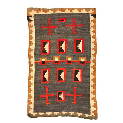 """c.1900s Navajo Hubbell Ganado Rug with Whirling Logs, 60"""" x 38.5"""""""