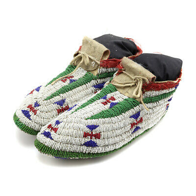 Lakota Fully Beaded Ceremonial Moccasins with Stand, c. 1890s