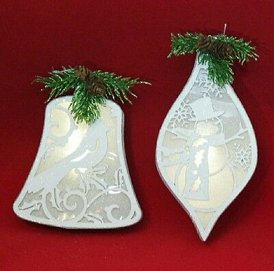 Snowman Light Up Ornament Bell White Glitter Christmas Wall Decor Set 2 Gift