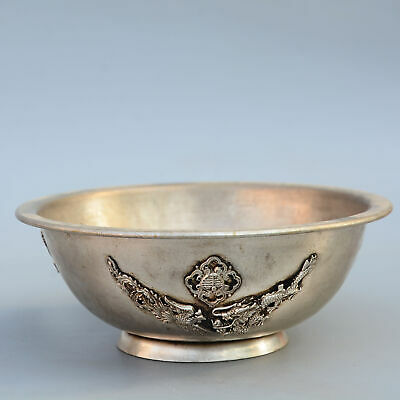 Collect China Old Miao Silver Hand-Carved Myth Dragon Delicate Bring Luck Bowl