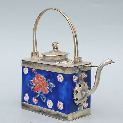 Collect Old Miao Silver Armour Porcelain Carve Lovely Pig & Flower Noble Tea Pot