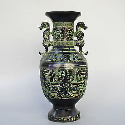Collectable China Old Bronze Hand-Carve Myth Abstract Dragon Delicate Noble Vase