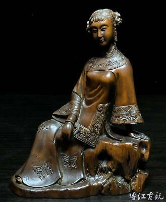 Collectable China Old Boxwood Hand-Carved Belle Delicate Noble Decorate Statue