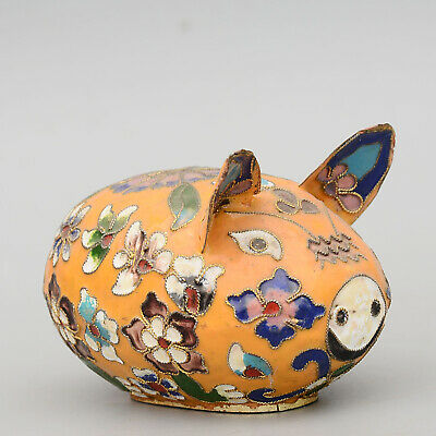 Collect China Old Cloisonne Hand-Carved Lovely Pig Delicate Interesting Statue
