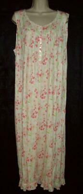 Nwt Eileen West Knit Long Gown 100% Modal 5215849 Pink Floral S