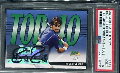 2013 Ace Authentic Roger Federer Top 40 Blue Auto #ed 4/5 PSA Mint 9