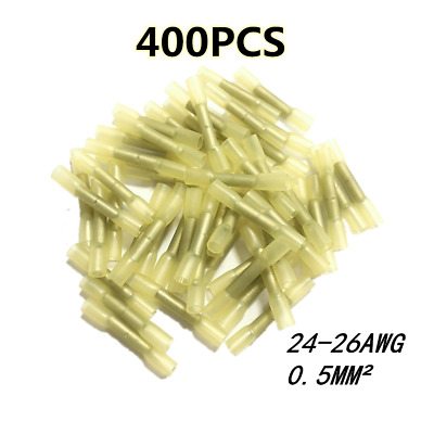 400PCS Yellow Heat Shrink Butt Crimp Connector Electrical Wire Terminal 24-26AWG