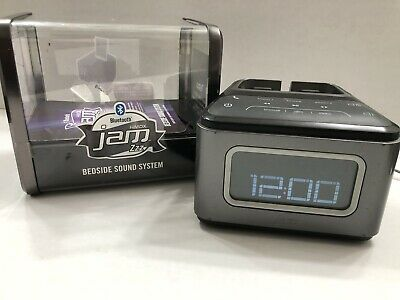 HMDX Jam Zzz Bluetooth Alarm Clock, Speakerphone, Phone Holder, USB Charger Gray