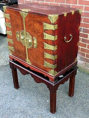 19th century Chinese burr elm brass cedar collectors cabinet chest of drawers