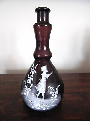 """Mary Gregory Glass BARBER BOTTLE Purple Amethyst , Approx 8""""  Antique Glass"""
